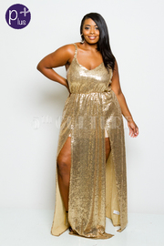 Plus Size Double Slit Maxi Goddess V-neck Gown