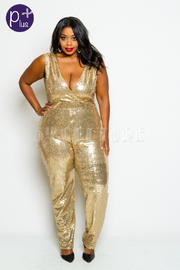 Plus Size V-neck Sequin Cocktal Capri Jumpsuit