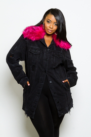 Plus Size Fur Collar Button Down Denim Jacket