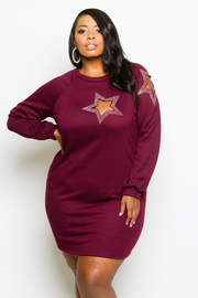 Plus Size Cutout Beaded Star Terry Sweater Dress