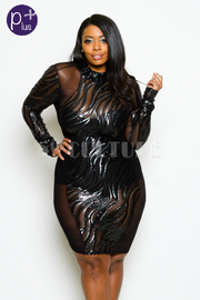 Plus Size Night Out Glam Bodycon Mesh Dress