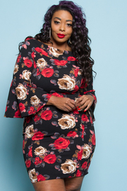 Plus Size Off Shoulder Roses Printed Bodycon Dress