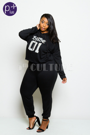 Plus Size Casual Babe Hooded Crop Sweater