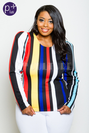 Plus Size Trendy Multi-Striped Top