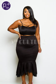 Plus Size Casual Hi Waist Mermaid Midi Tube Skirt