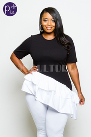 Plus Size Two Toned Flounced Asymmetric Top