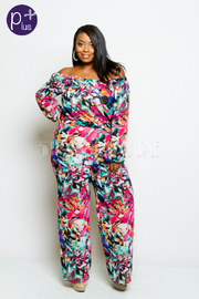 Plus Size Off Shoulder Colorful Abstract Jumpsuit