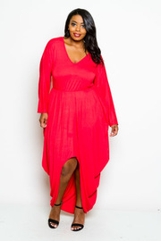 Plus Size Hi Low Harem V Neck Maxi Dress