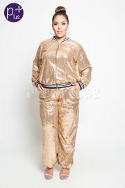 Plus Size Sequin 2-Piece Classy Chic Jogger Set