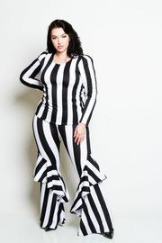 Plus Size Striped 2-Piece Cascade Top Matching Pants Set