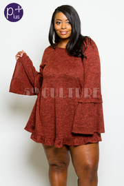 Plus Size Ruffled Long Sleeved Top