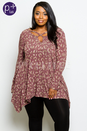 Plus Size Printed Long Sleeved Top