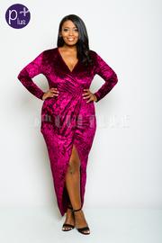 Plus Size Surplice Overlap Maxi Velvet Dress