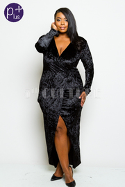 Plus Size Surplice Overlap Maxi Velvet Dress