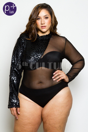 Plus Size Furry Velvet Trim Mesh Sexy Bodysuit