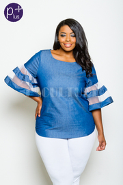 Plus Size Denim For All Day Flared Out Sleeved Top