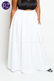 Plus Size Hi Waist Ponti Pleat Maxi Pocket Skirt