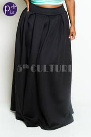 Plus Size Hi Waist Ponti Pleat Maxi Pocket Skirt