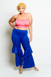 Plus Size Cascading Side Solid Pants