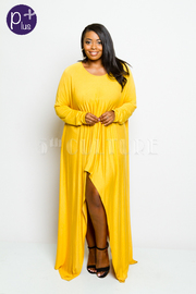 Plus Size Long Sleeved Harem Slit Front Maxi Dress