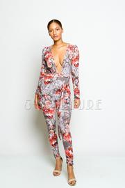 Deep V Floral Printed Tie Waist Jumpsuit
