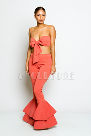 Classy 2-Piece Bow Bandeau Ruffled Bell Bottom Pants Set
