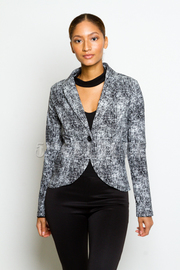Speckled Button Closure Blazer
