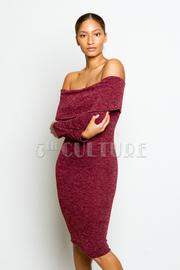 Off Shoulder Solid Flounced Midi Tube Dress