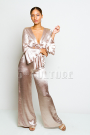 Silky 2-Piece Bow Tie Cropped Pants Set