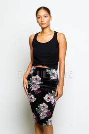 Floral Velvet Midi Skirt