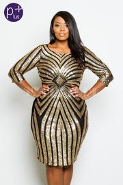 Plus Size Sequin Design Glam Midi Dress
