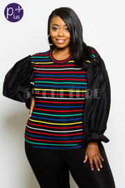 Plus Size Multi-Striped Bubble Sleeved Top