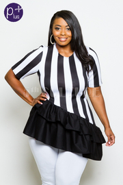 Plus Size Striped Short Sleeved Ruffled Asymmetrical Top