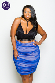Plus Size Ruched Mesh Midi Skirt
