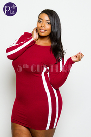Plus Size Sporty Long Sleeved Bodycon Dress