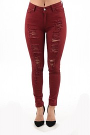 Plus Size Distressed All The Way Denim Skinny Jeans
