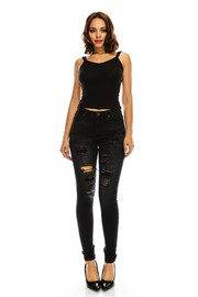Plus Size Ripped Knee Skinny Denim Jeans