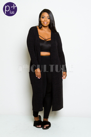 Plus Size Long Sleeved Long Cardigan