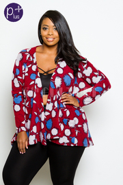 Plus Size Floral Printed Open Cardigan