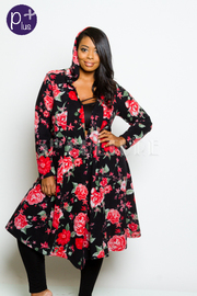 Plus Size Roses In Bloom Open Cardigan