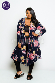 Plus Size Casual Floral Open Cardigan
