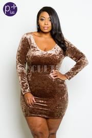 Plus Size V-neck Shimmer Velvet Tube Dress