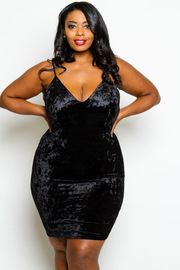 Plus Size Sexy In Velvet Mini Club Dress