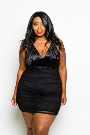 Plus Size Sexy In Velvet Mesh Back Bodycon Dress