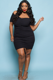 Plus Size Long Sleeved Ruched Tie Mini Tube Dress