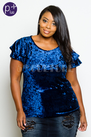 Plus Size Miss Perfect Velvet Short Sleeved Top