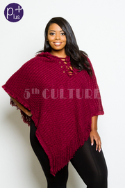 Plus Size Tie Up Winter Loose Poncho