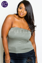 Plus Size Strapless Solid Jersey Top