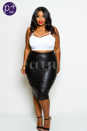 Plus Size Sexy In Faux Leather Pencil Skirt