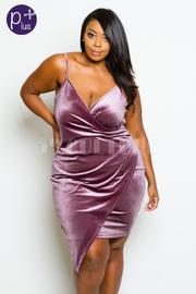 Plus Size Sexy In Overlap Velvet Club Tube Dress